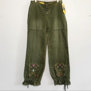 NWT 90s Embroidered Low Rise Adjustable Harem Jean